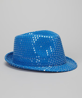 Neon Blue Sequin Fedora