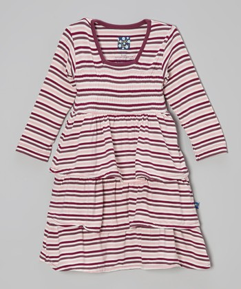 KicKee Pants Orchid Stripe Square-Collar Ruffle Dress - Infant & Toddler