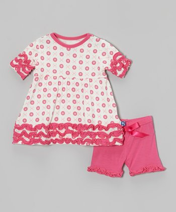 KicKee Pants Pink Jacks Ruffle Dress & Shorts - Infant & Toddler