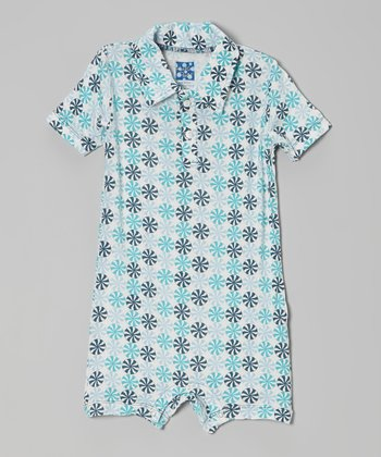 KicKee Pants Blue Peppermint Polo Romper - Infant
