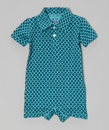 KicKee Pants Blue Honeycomb Polo Romper - Infant