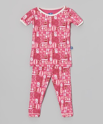 KicKee Pants Pink Numbers Pajama Set - Infant & Toddler