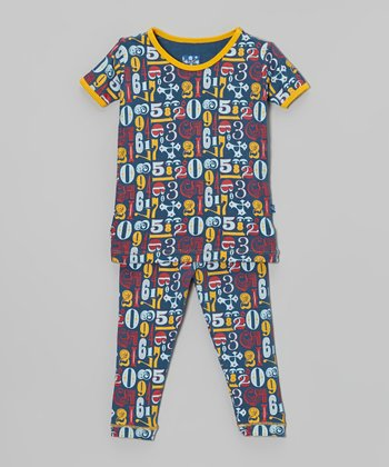 KicKee Pants Blue & Yellow Numbers Pajama Set - Infant & Toddler