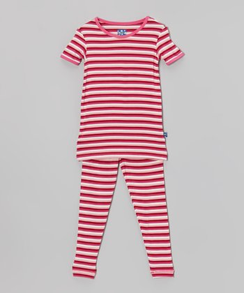 KicKee Pants Candy Pink Stripe Pajama Set - Infant, Toddler & Girls