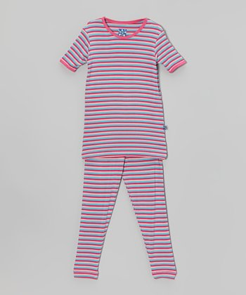 KicKee Pants Lavender Soda Pop Stripe Pajama Set - Toddler & Girls