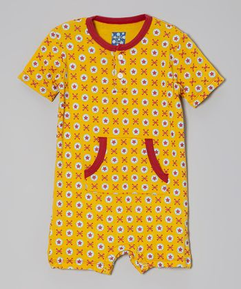 KicKee Pants Popcorn Yellow Jacks Romper - Infant