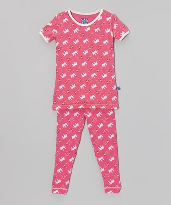 KicKee Pants Candy Pink Zebra Pajama Set - Toddler