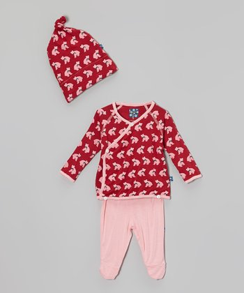 KicKee Pants Crimson Bear Wrap Tunic Set - Infant