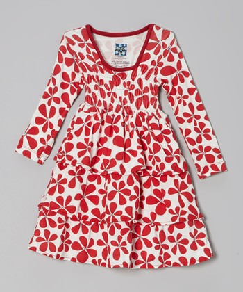 KicKee Pants Crimson Floral Square-Collar Ruffle Dress - Infant & Toddler