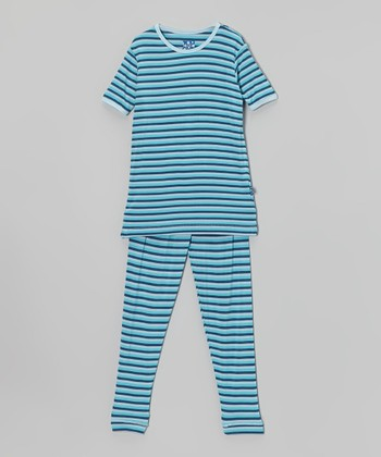 KicKee Pants Turquoise Trapeze Stripe Pajama Set - Toddler & Boys