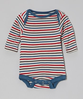 KicKee Pants Blue Winter Stripe Bodysuit - Infant