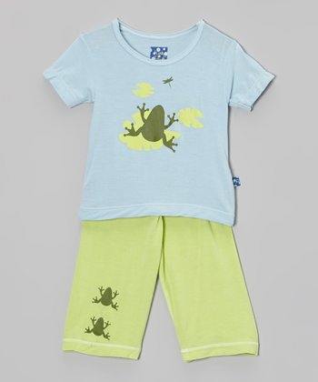 KicKee Pants Blue Pond Frog Tee & Green Pants - Infant & Toddler