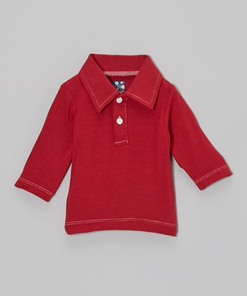 KicKee Pants Crimson Long-Sleeve Polo - Infant & Toddler