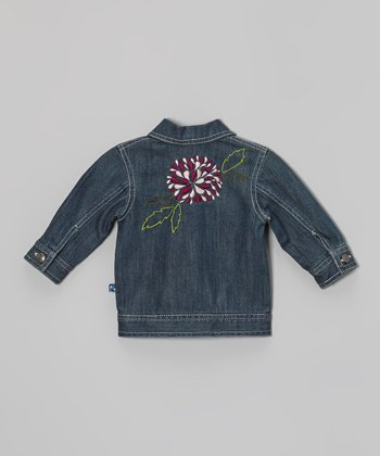 KicKee Pants Dark Wash Flower Denim Jacket - Infant, Toddler & Girls