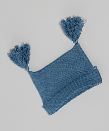 KicKee Pants Twilight Blue Tassel Knit Double-Knot Beanie