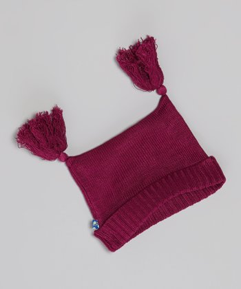 KicKee Pants Orchid Tassel Knit Double-Knot Beanie