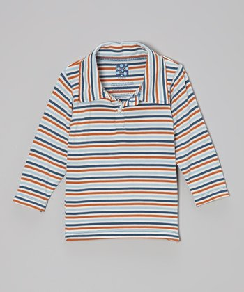 KicKee Pants Twilight Stripe Long-Sleeve Polo - Infant, Toddler & Boys