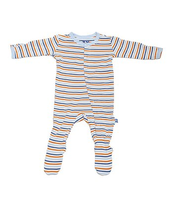 KicKee Pants Light Blue Twilight Stripe Footie - Infant, Toddler & Boys