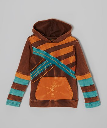 Orange & Brown Stripe Layered Hoodie - Boys