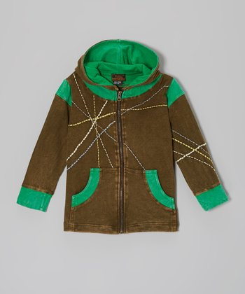 Green Zip-Up Hoodie - Boys