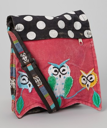 Red & Black Polka Dot Owls Crossbody Bag