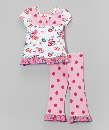 White Rose Ruffle Top & Pink Polka Dot Pants - Infant & Toddler