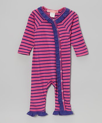 Purple Stripe Ruffle Playsuit - Infant