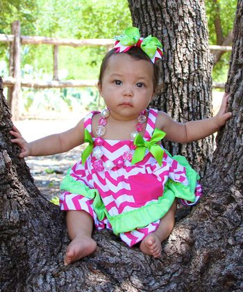 Hot Pink & Lime Zigzag Swing Tunic & Diaper Cover - Infant