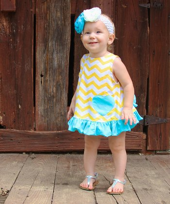 Yellow & Aqua Swing Tunic & Diaper Cover - Infant