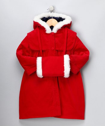 Red Corduroy Muff Coat - Infant, Toddler & Girls