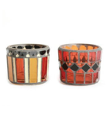 Halloween Mosaic Glass Tea Light Set
