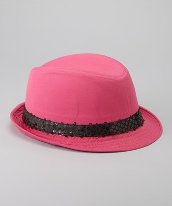 Fuchsia & Black Sequin Trim Fedora