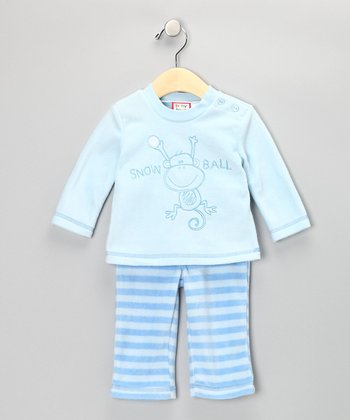 Blue 'Snowball' Top & Pants - Infant