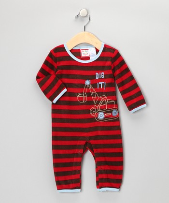 Red & Brown Microfleece Romper - Infant