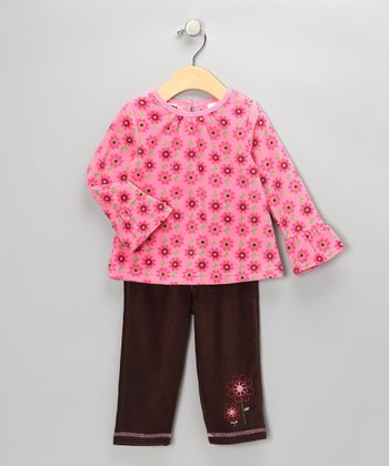 Pink Flower Fleece Top & Pants - Infant