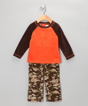 Orange Raglan Tee & Camo Pants - Infant