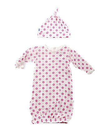 Natural & Pink Jacks Gown & Single-Knot Beanie - Infant