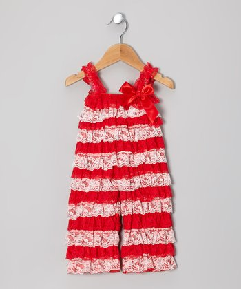 Red & White Lace Ruffle Jumpsuit - Infant & Toddler