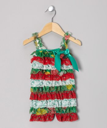 Green & Red Lace Ruffle Romper - Infant & Toddler