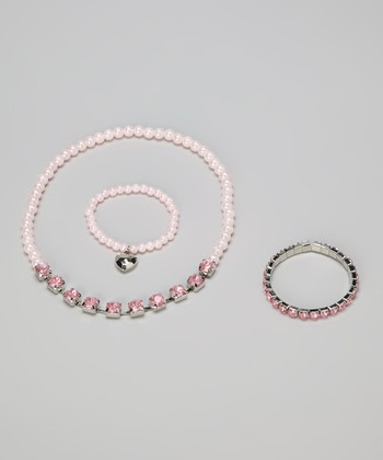 Pink Diamond & Pearl Look Jewelry Set