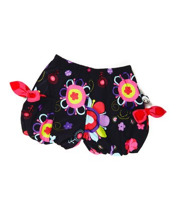 Black Flower Power Bubble Shorts - Infant, Toddler & Girls
