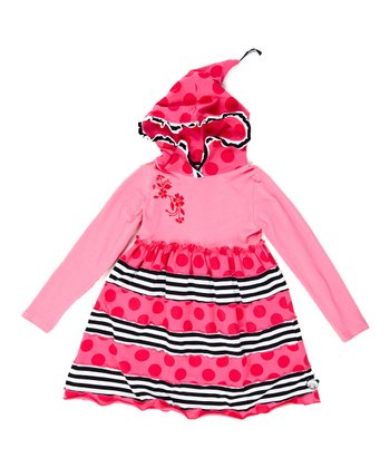 Pink Polka Dot Hoodie Dress - Infant, Toddler & Girls