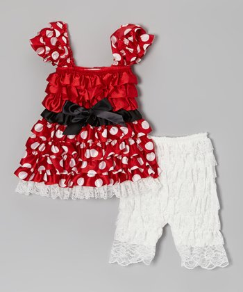 Red Polka Dot Ruffle Dress & Lace Leggings - Infant & Toddler