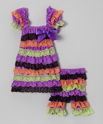 Purple & Green Lace Ruffle Dress & Leggings - Infant