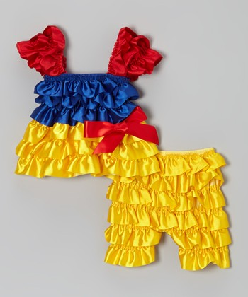 Red & Yellow Ruffle Dress & Shorts - Infant & Toddler