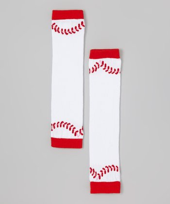 Red & White Baseball Leg Warmers