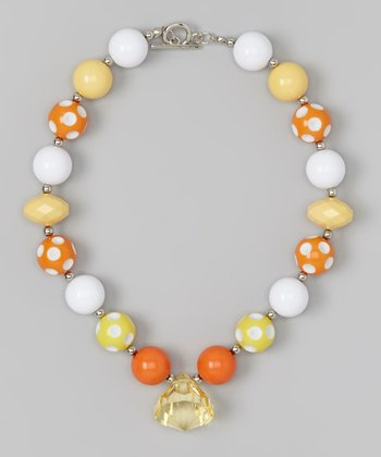 Orange & White Candy Corn Necklace
