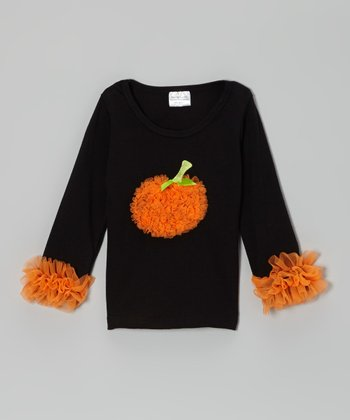 Black & Orange Pumpkin Ruffle Top - Infant