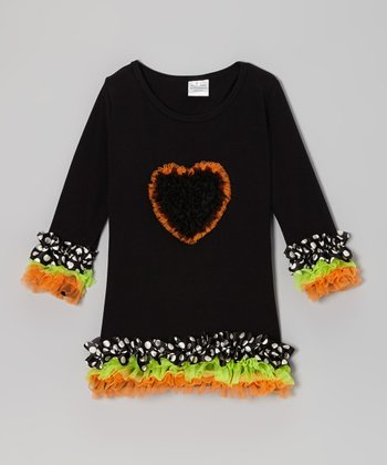 Black Polka Dot Heart Ruffle Dress - Infant, Toddler & Girls