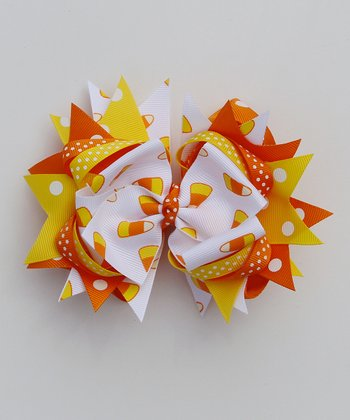 Orange & Yellow Candy Corn Bow Clip